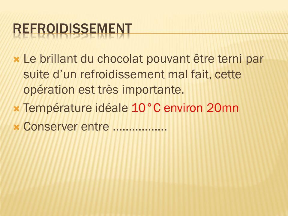 Le brillant du chocolat pouvant être terni par suite dun refroidissement mal fait, cette opération est très importante. Température idéale 10°C enviro