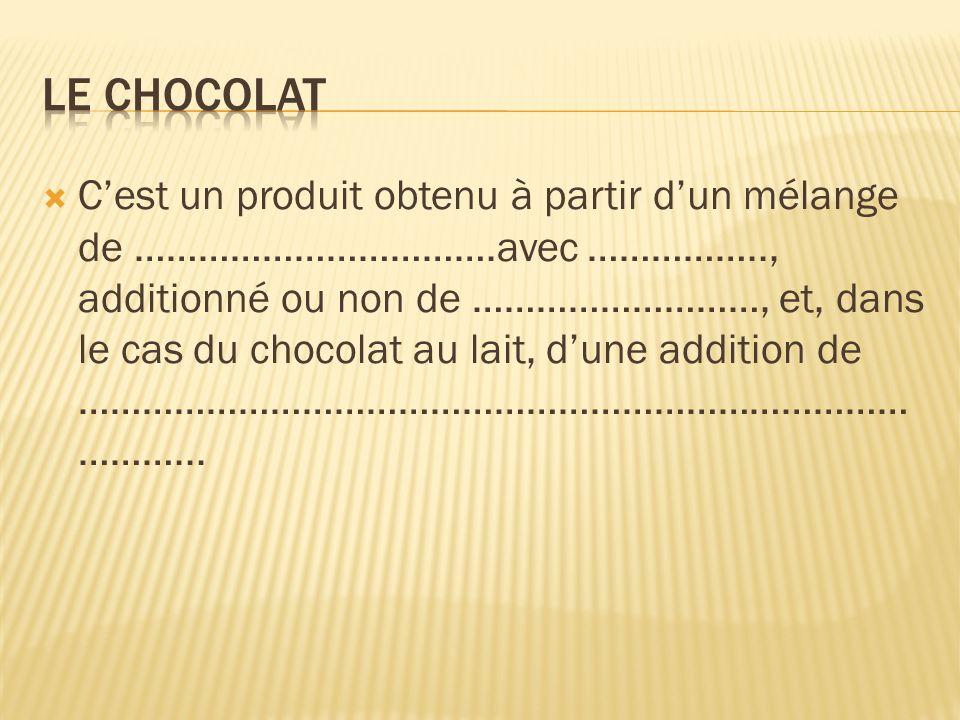 Cest un produit obtenu à partir dun mélange de …………………………….avec …………….., additionné ou non de ………………………, et, dans le cas du chocolat au lait, dune add