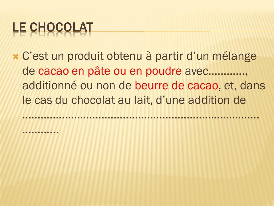 Cest un produit obtenu à partir dun mélange de cacao en pâte ou en poudre avec…………, additionné ou non de beurre de cacao, et, dans le cas du chocolat