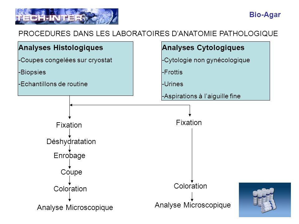 Objectif : La technique Bio Agar permet de capturer les amas cellulaires et/ou les micro-biopsies pouvant être présents dans un matériel de brossage ou de raclage (urines, endomètre, col utérin, voie biliaire) ou de ponction par aspiration à laiguille fine (sein, ganglion, thyroïde, médiastin, pancréas, foie, etc…).