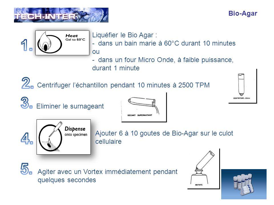 Bio-Agar Refroidir léchantillon durant 3 minutes sur une plaque froide (ou dans la cuve de votre cyostat) jusquà solidifation de votre échantillon Récupérer léchantillon solidifé au fond du tube et le placer dans une casstte biopsie entre deux filtres.