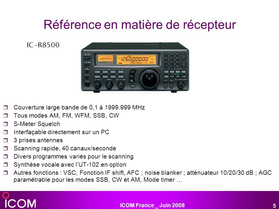 ICOM France _ Juin 2008 6 Nouvelle référence en matière découte Gamme de fréquence : 0.005-3355MHZ Récepteur ayant toutes les caractéristiques dun banc de mesure Point dinterception de 3ème ordre 40dBm Traitement du signal par DSP Asservissement du moniteur par DSP Moniteur couleur 7 Sortie Fi 10.7Mhz Balayage 40cn par seconde Enregistrement numérique (1h) IC-R9500