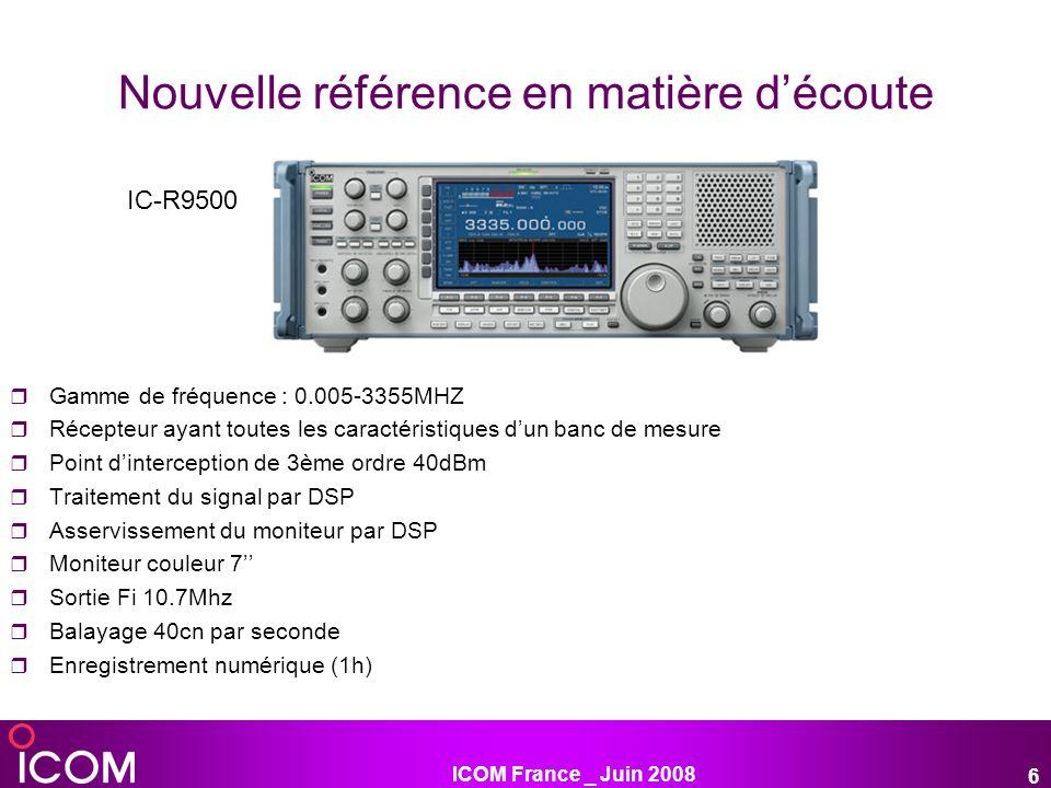 ICOM France _ Juin 2008 7 Récepteur « boite noire » télécommandable par informatique Gamme de fréquence : 0,01-3299,999MHz tous modes Double réception simultanée grâce à 2 antennes connectables en même temps « Fonction diversity » reception lorsque 2 antennes sont connectés : cette fonction compare en permanence la force des signaux reçus et sélectionne lantenne recevant le meilleur signal pour une qualité de réception optimale 3 écrans d exploitation disponibles Câble de connexion USB pour entendre ou enregistrer au format WAV sur le PC Fonction monitoring multi-canal pour surveiller jusquà 25 canaux simultanément Existe également en version avec tête de commande déportée IC-PCR2500
