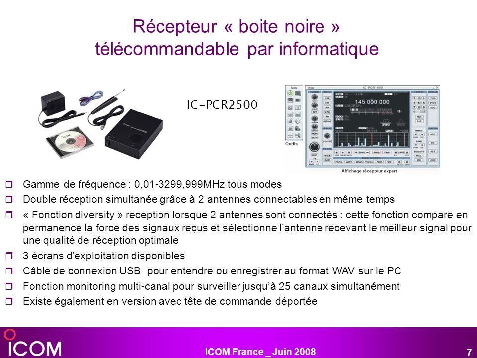 ICOM France _ Juin 2008 7 Récepteur « boite noire » télécommandable par informatique Gamme de fréquence : 0,01-3299,999MHz tous modes Double réception