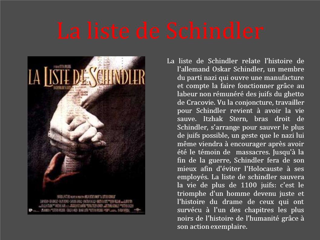 La liste de Schindler La liste de Schindler relate l'histoire de l'allemand Oskar Schindler, un membre du parti nazi qui ouvre une manufacture et comp