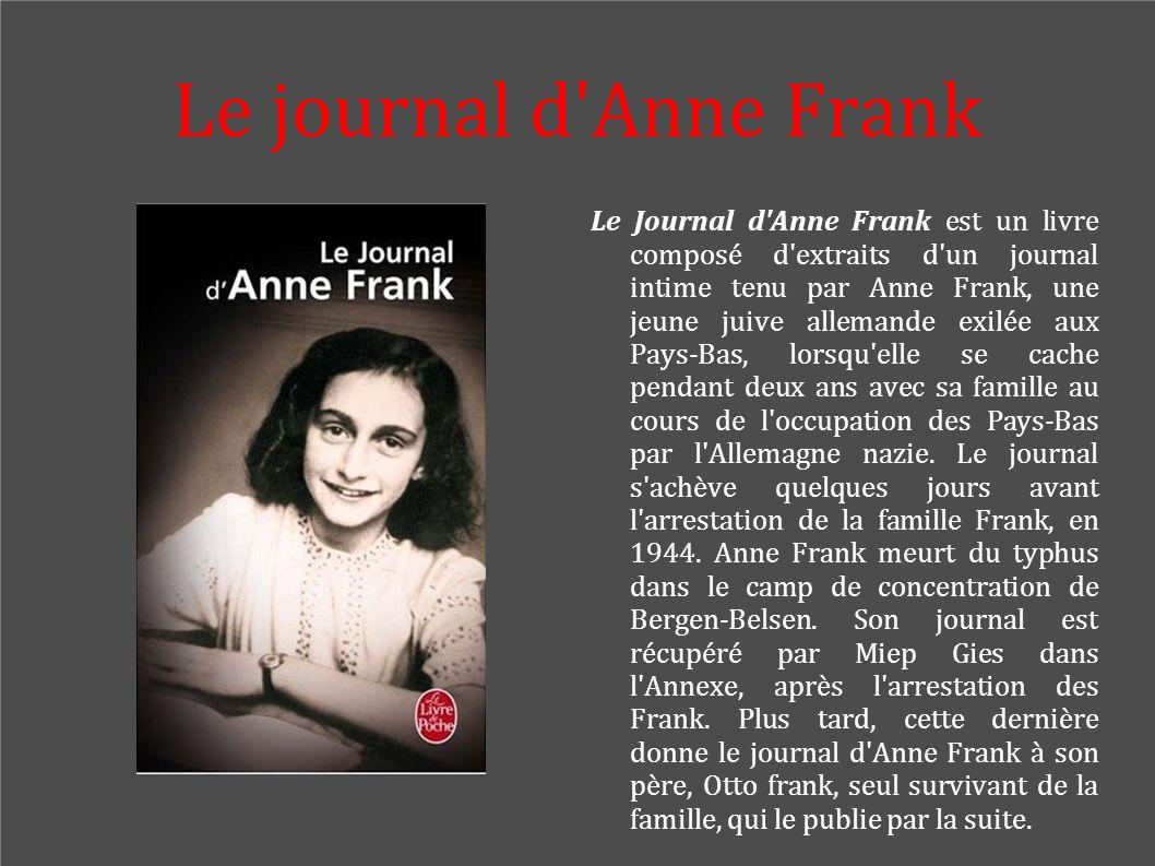 Le journal d'Anne Frank Le Journal d'Anne Frank est un livre composé d'extraits d'un journal intime tenu par Anne Frank, une jeune juive allemande exi