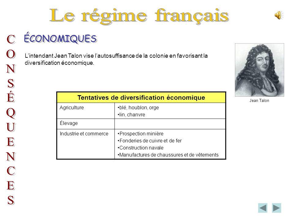 Lintendant Jean Talon vise lautosuffisance de la colonie en favorisant la diversification économique.