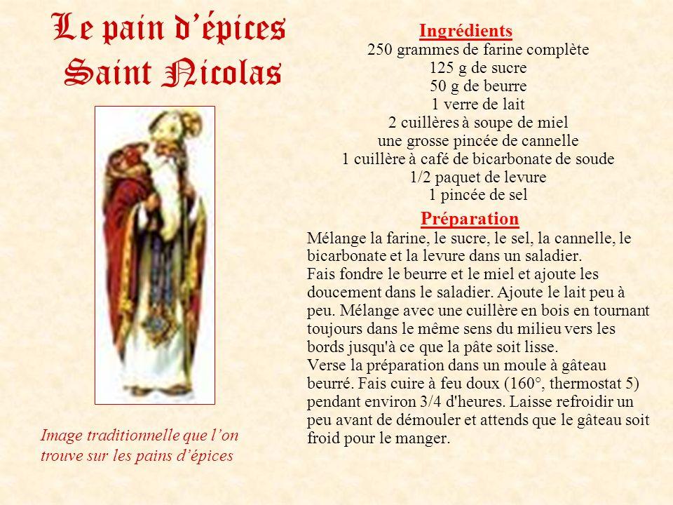 Le pain dépices Saint Nicolas Ingrédients 250 grammes de farine complète 125 g de sucre 50 g de beurre 1 verre de lait 2 cuillères à soupe de miel une