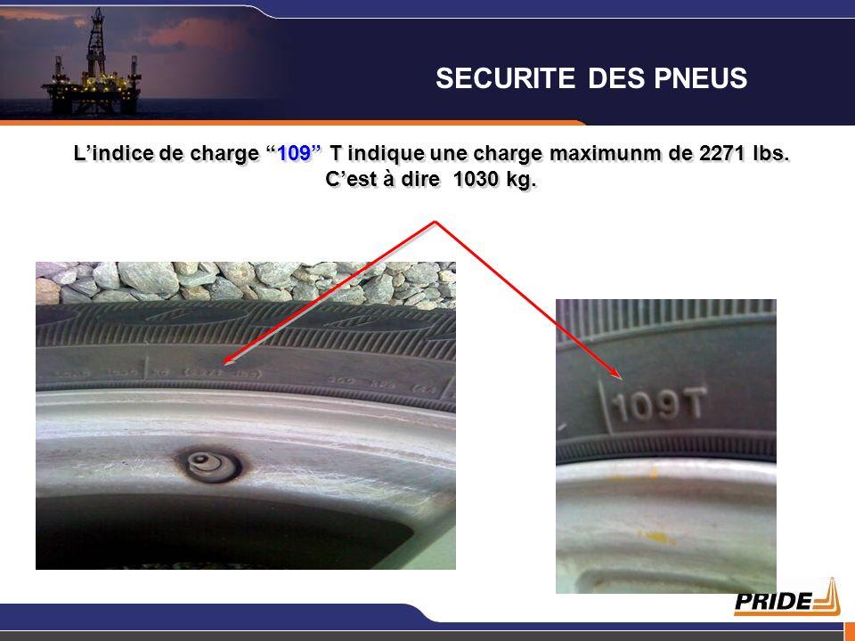 Lindice de charge 109 T indique une charge maximunm de 2271 lbs. Cest à dire 1030 kg. SECURITE DES PNEUS