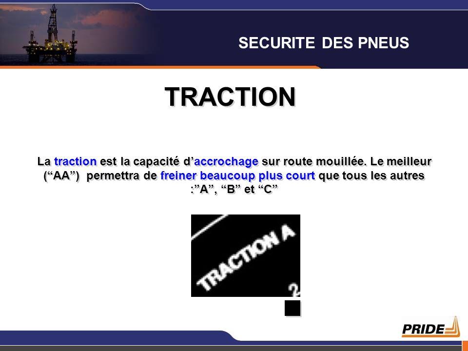 TRACTION La traction est la capacité daccrochage sur route mouillée. Le meilleur (AA) permettra de freiner beaucoup plus court que tous les autres :A,