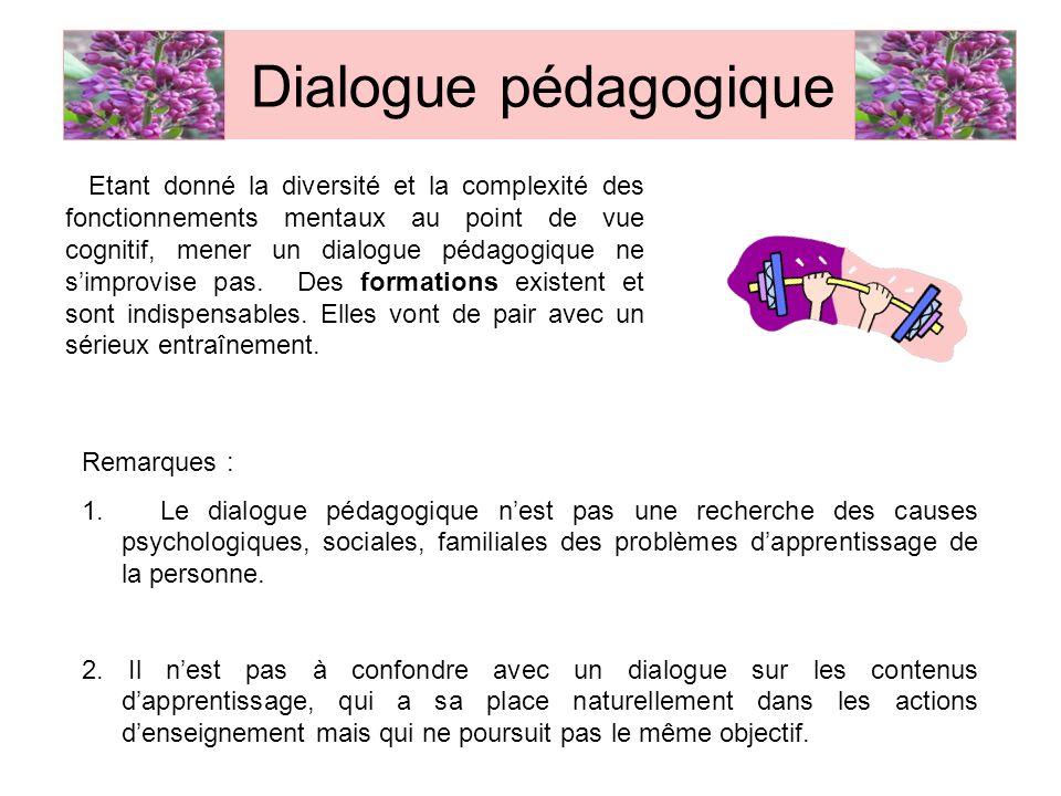 Etant donné la diversité et la complexité des fonctionnements mentaux au point de vue cognitif, mener un dialogue pédagogique ne simprovise pas. Des f