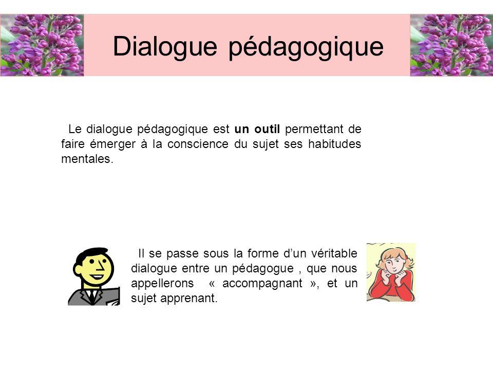 Dialogue pédagogique Le dialogue pédagogique est un outil permettant de faire émerger à la conscience du sujet ses habitudes mentales. Il se passe sou