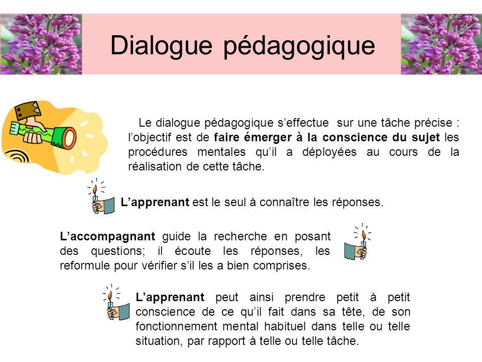 Le dialogue pédagogique seffectue sur une tâche précise : lobjectif est de faire émerger à la conscience du sujet les procédures mentales quil a déplo