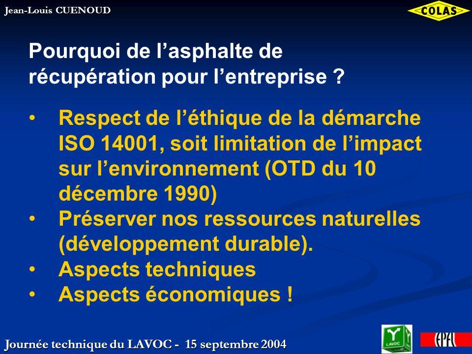 Journée technique du LAVOC - 15 septembre 2004 Jean-Louis CUENOUD Granulats bitumineux – Données 2003 Statistiques Consommation : ~2/3 de la réception Prélèvement :1 échantillon/~1000 to.