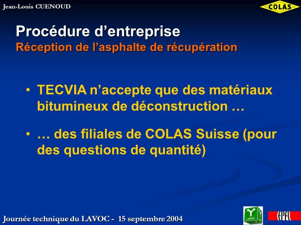 Journée technique du LAVOC - 15 septembre 2004 Jean-Louis CUENOUD Procédure dentreprise Réception de lasphalte de récupération TECVIA naccepte que des matériaux bitumineux de déconstruction … … des filiales de COLAS Suisse (pour des questions de quantité)