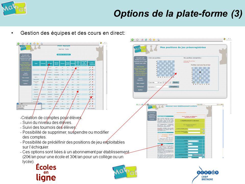 Options de la plate-forme (3) Gestion des équipes et des cours en direct: -Création de comptes pour élèves. - Suivi du niveau des élèves. - Suivi des