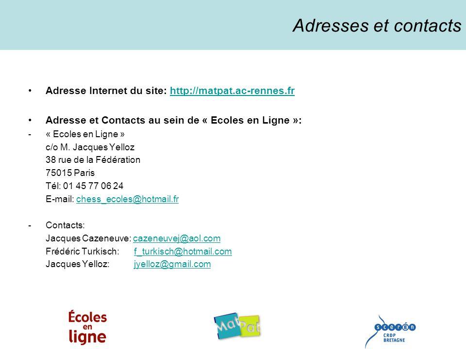 Adresses et contacts Adresse Internet du site: http://matpat.ac-rennes.frhttp://matpat.ac-rennes.fr Adresse et Contacts au sein de « Ecoles en Ligne »