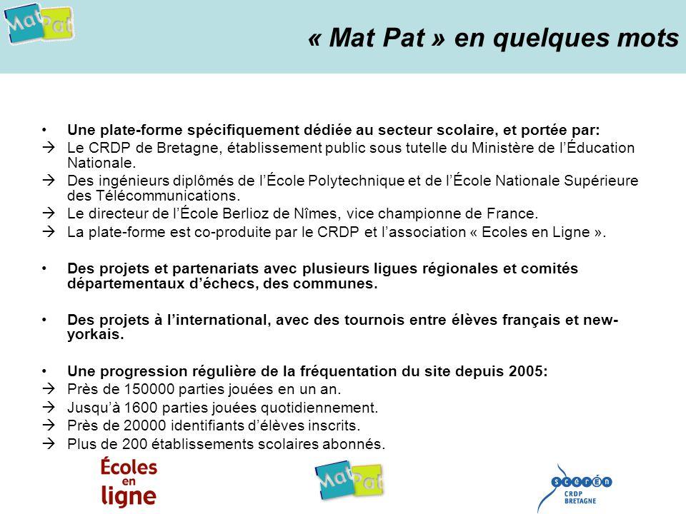 « Mat Pat » en quelques mots Une plate-forme spécifiquement dédiée au secteur scolaire, et portée par: Le CRDP de Bretagne, établissement public sous