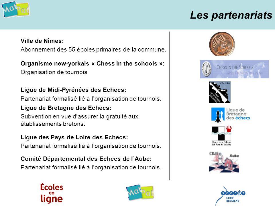 Les partenariats Ville de Nîmes: Abonnement des 55 écoles primaires de la commune. Organisme new-yorkais « Chess in the schools »: Organisation de tou
