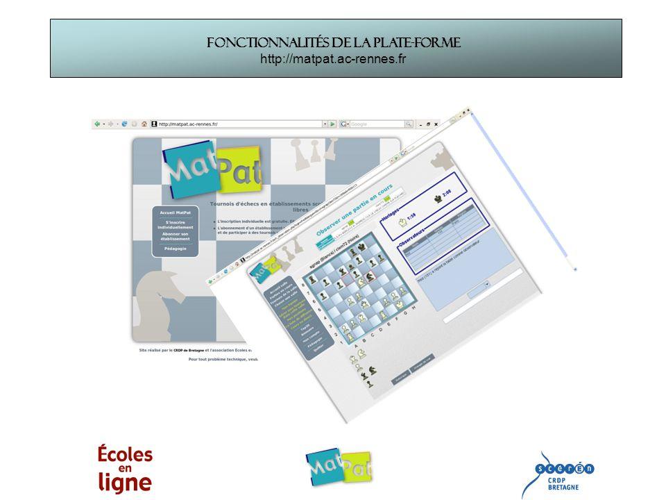 Fonctionnalités de la plate-forme http://matpat.ac-rennes.fr