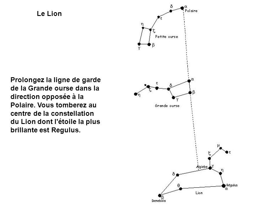 Le Lion Prolongez la ligne de garde de la Grande ourse dans la direction opposée à la Polaire. Vous tomberez au centre de la constellation du Lion don