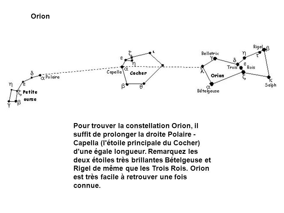 Orion Pour trouver la constellation Orion, il suffit de prolonger la droite Polaire - Capella (l'étoile principale du Cocher) d'une égale longueur. Re