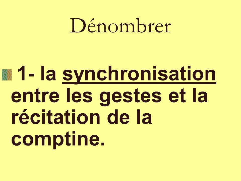 1- la synchronisation entre les gestes et la récitation de la comptine. Dénombrer