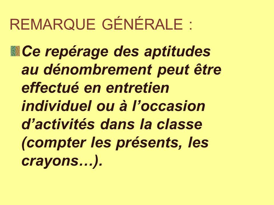 REMARQUE GÉNÉRALE : Ce repérage des aptitudes au dénombrement peut être effectué en entretien individuel ou à loccasion dactivités dans la classe (com