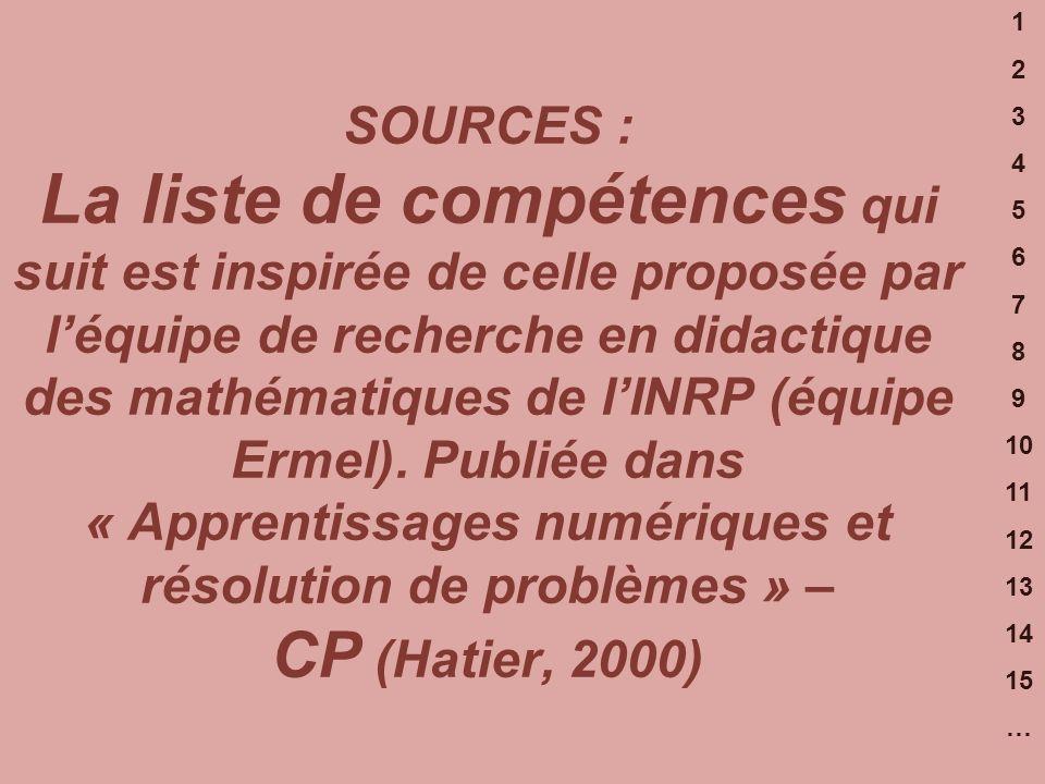 1 2 3 4 5 6 7 8 9 10 11 12 13 14 15 … SOURCES : La liste de compétences qui suit est inspirée de celle proposée par léquipe de recherche en didactique