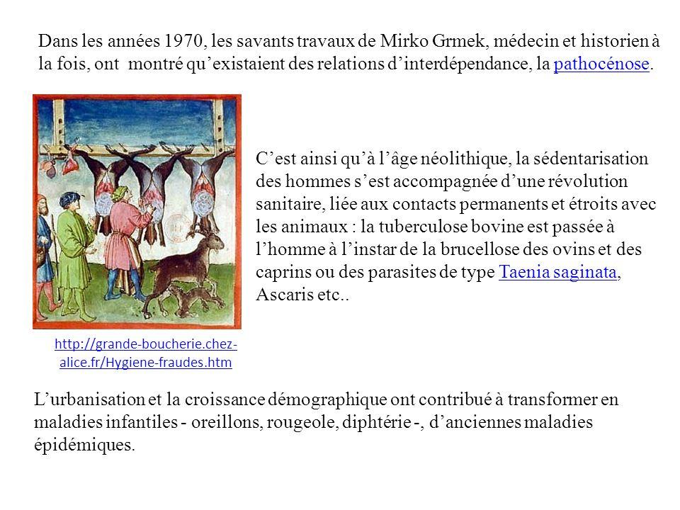 Dans les années 1970, les savants travaux de Mirko Grmek, médecin et historien à la fois, ont montré quexistaient des relations dinterdépendance, la pathocénose.pathocénose Cest ainsi quà lâge néolithique, la sédentarisation des hommes sest accompagnée dune révolution sanitaire, liée aux contacts permanents et étroits avec les animaux : la tuberculose bovine est passée à lhomme à linstar de la brucellose des ovins et des caprins ou des parasites de type Taenia saginata, Ascaris etc..Taenia saginata Lurbanisation et la croissance démographique ont contribué à transformer en maladies infantiles - oreillons, rougeole, diphtérie -, danciennes maladies épidémiques.