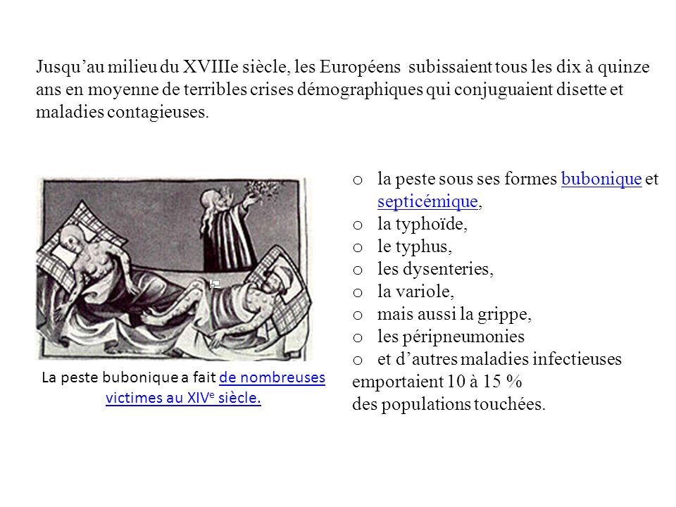 Jusquau milieu du XVIIIe siècle, les Européens subissaient tous les dix à quinze ans en moyenne de terribles crises démographiques qui conjuguaient disette et maladies contagieuses.