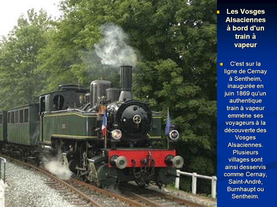 Les Vosges Alsaciennes à bord d un train à vapeur Les Vosges Alsaciennes à bord d un train à vapeur C est sur la ligne de Cernay à Sentheim, inaugurée en juin 1869 qu un authentique train à vapeur emmène ses voyageurs à la découverte des Vosges Alsaciennes.