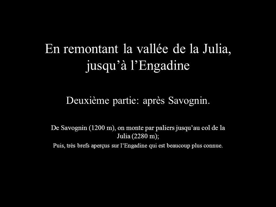 En remontant la vallée de la Julia, jusquà lEngadine Deuxième partie: après Savognin. De Savognin (1200 m), on monte par paliers jusquau col de la Jul