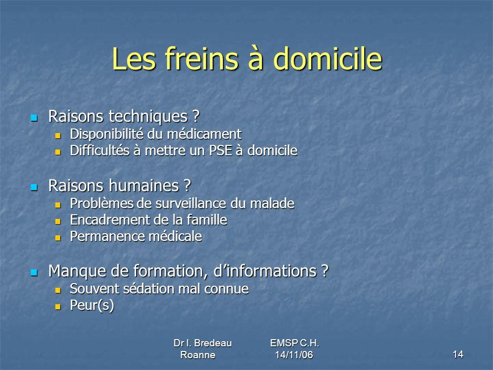 Dr I. Bredeau EMSP C.H. Roanne 14/11/0614 Les freins à domicile Raisons techniques ? Raisons techniques ? Disponibilité du médicament Disponibilité du