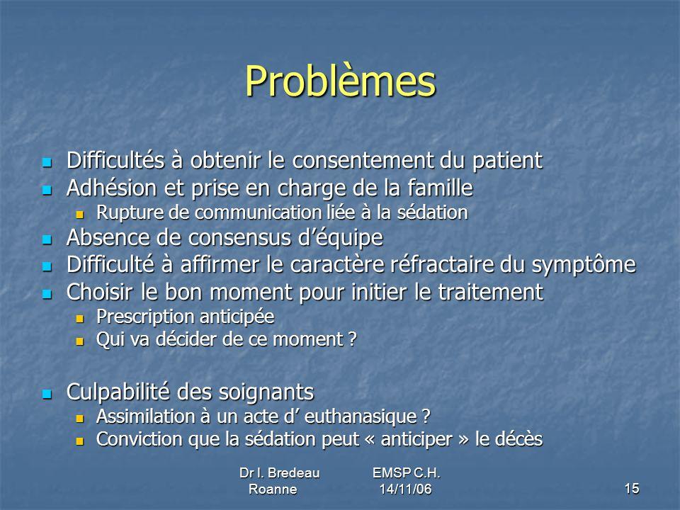 Dr I. Bredeau EMSP C.H. Roanne 14/11/0615 Problèmes Difficultés à obtenir le consentement du patient Difficultés à obtenir le consentement du patient