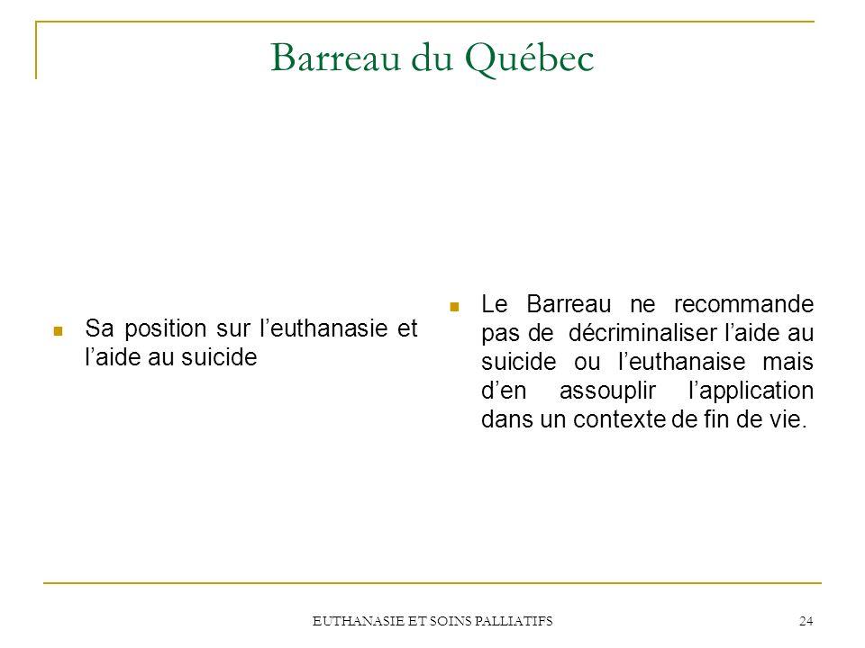 EUTHANASIE ET SOINS PALLIATIFS 24 Barreau du Québec Le Barreau ne recommande pas de décriminaliser laide au suicide ou leuthanaise mais den assouplir