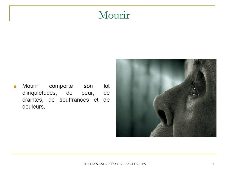 EUTHANASIE ET SOINS PALLIATIFS 4 Mourir Mourir comporte son lot dinquiétudes, de peur, de craintes, de souffrances et de douleurs.