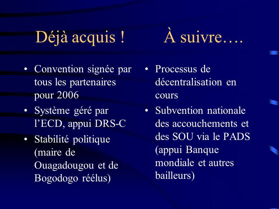 Déjà acquis ! À suivre…. Convention signée par tous les partenaires pour 2006 Système géré par lECD, appui DRS-C Stabilité politique (maire de Ouagado