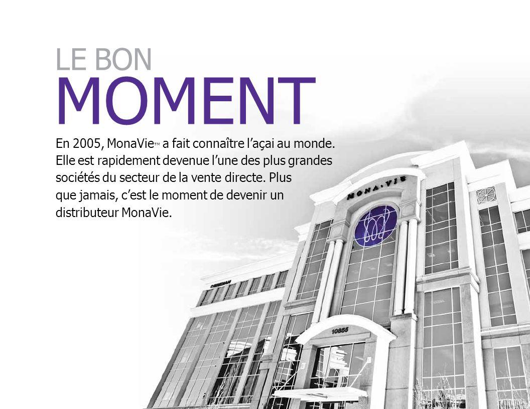 MOMENT En 2005, MonaVie a fait connaître laçai au monde. Elle est rapidement devenue lune des plus grandes sociétés du secteur de la vente directe. Pl