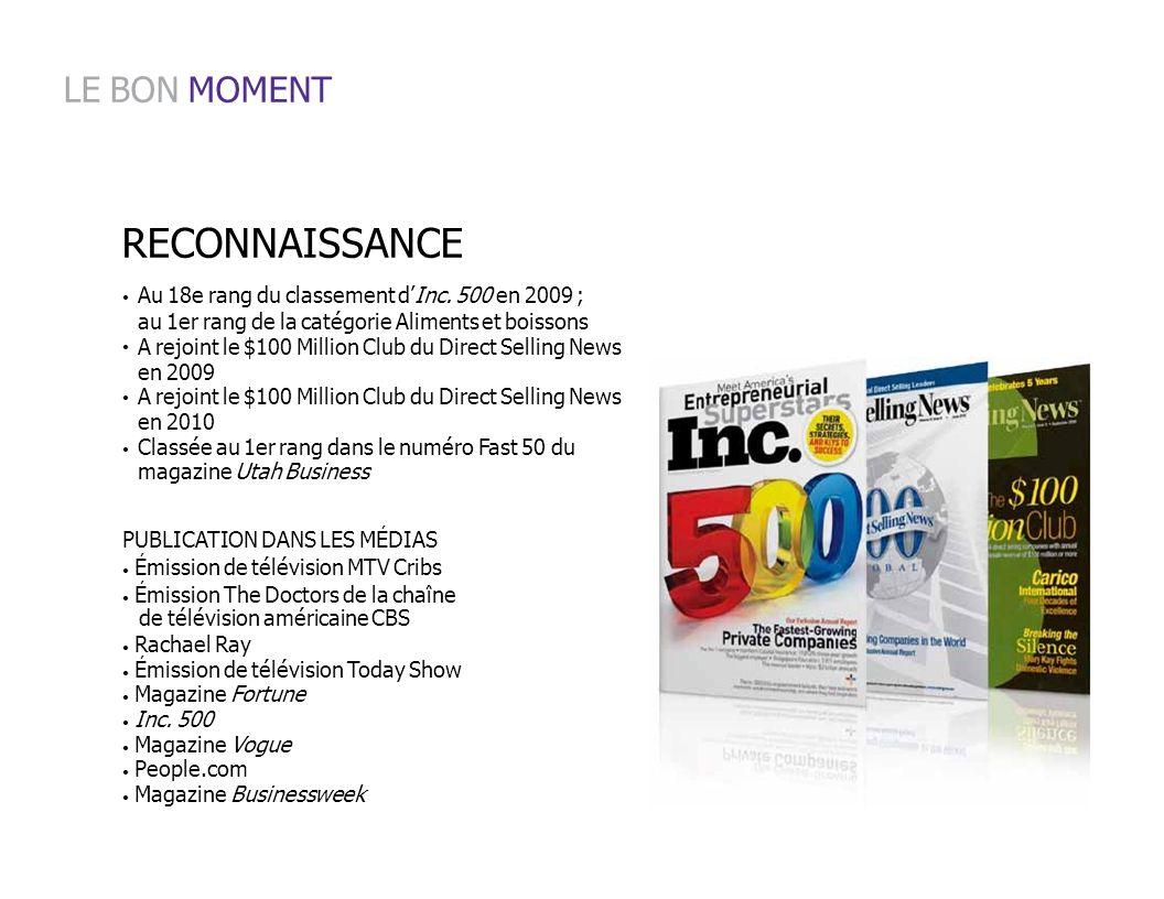 Au 18e rang du classement dInc. 500 en 2009 ; au 1er rang de la catégorie Aliments et boissons A rejoint le $100 Million Club du Direct Selling News e