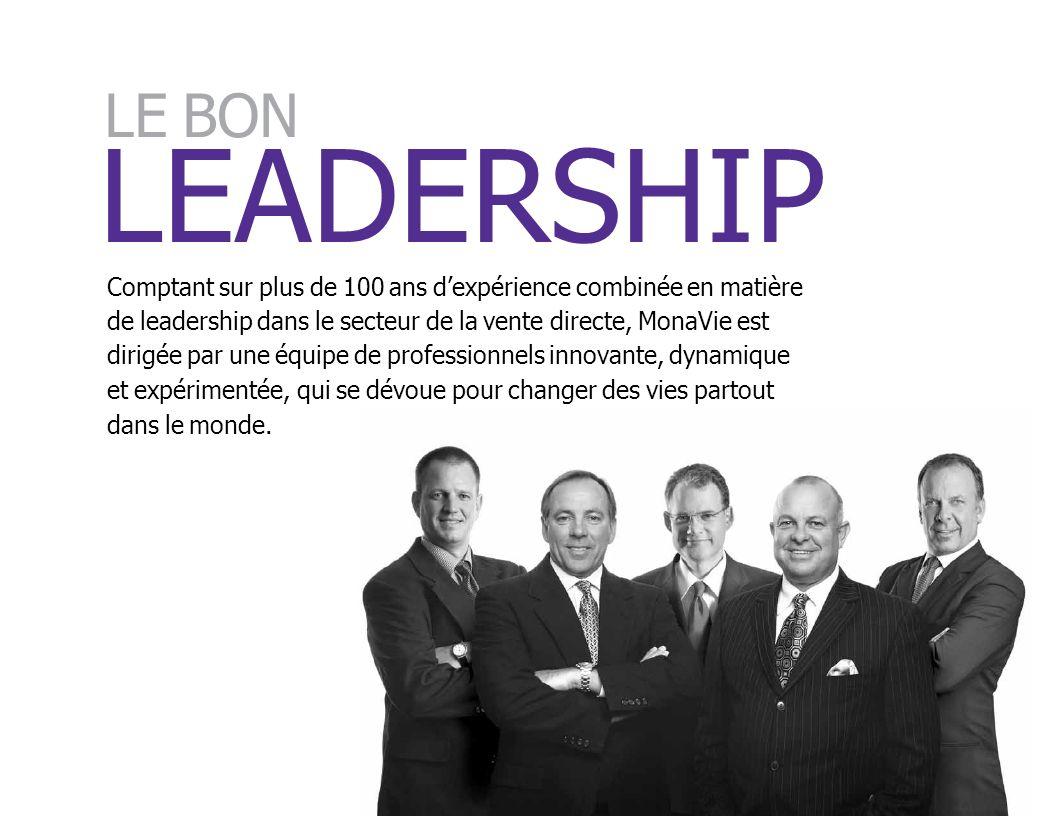 LEADERSHIP Comptant sur plus de 100 ans dexpérience combinée en matière de leadership dans le secteur de la vente directe, MonaVie est dirigée par une