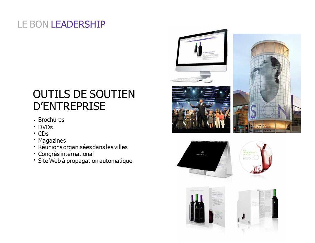Brochures DVDs CDs Magazines Réunions organisées dans les villes Congrès international Site Web à propagation automatique LE BON LEADERSHIP OUTILS DE