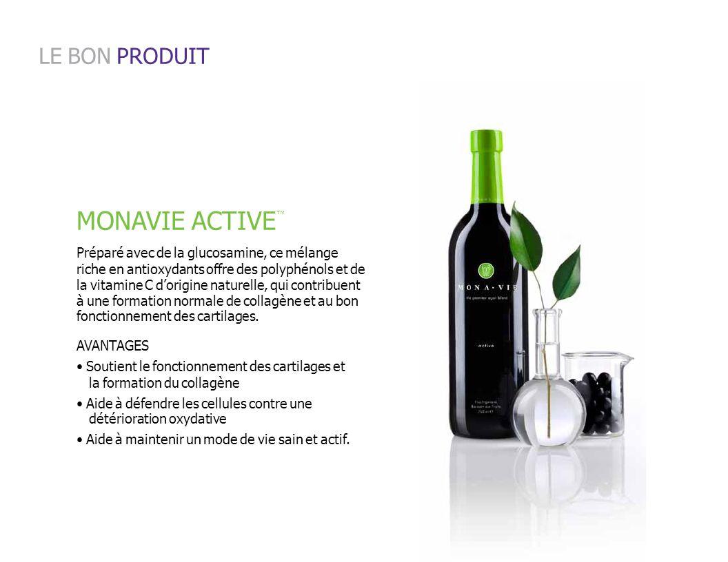 MONAVIE ACTIVE LE BON PRODUIT Préparé avec de la glucosamine, ce mélange riche en antioxydants offre des polyphénols et de la vitamine C dorigine natu