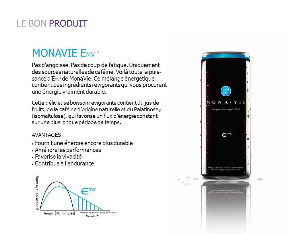 MONAVIE E MV sance dE MV de MonaVie. Ce mélange énergétique Pas dangoisse. Pas de coup de fatigue. Uniquement des sources naturelles de caféine. Voilà