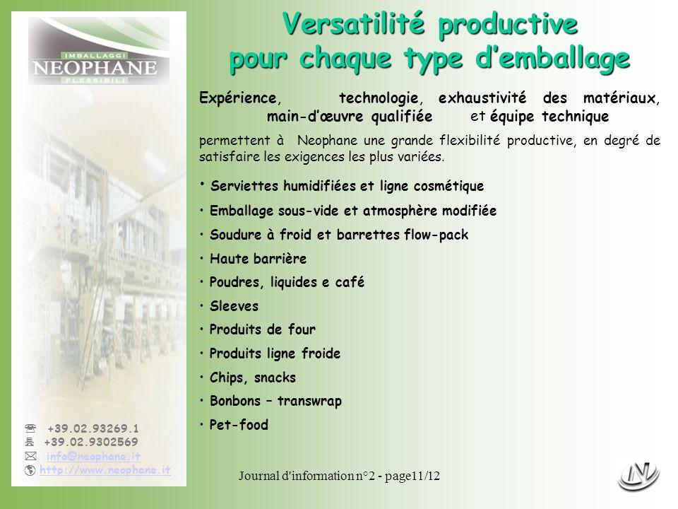 Journal d'information n°2 - page11/12 +39.02.93269.1 +39.02.9302569 info@neophane.it http://www.neophane.it Versatilité productive pour chaque type de