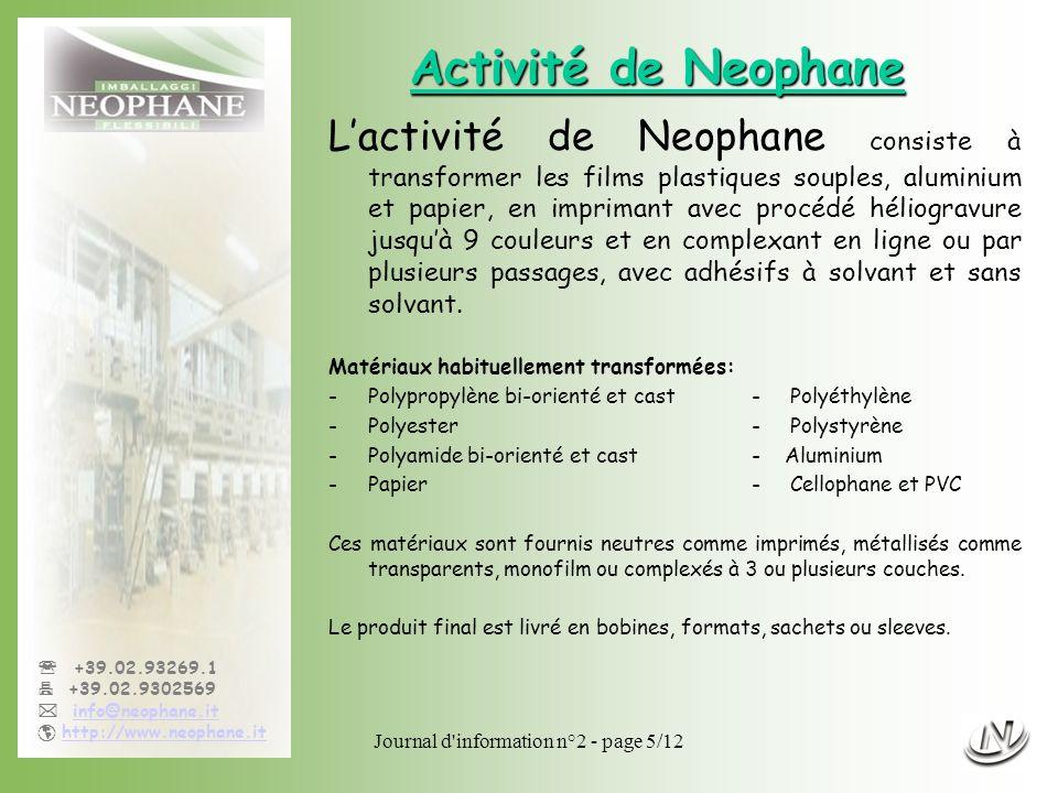 Journal d information n°2 - page 6/12 +39.02.93269.1 +39.02.9302569 info@neophane.it http://www.neophane.it Activité commerciale Neophane travaille dans le secteur des emballages souples, imprimés comme neutres, depuis 40 ans.