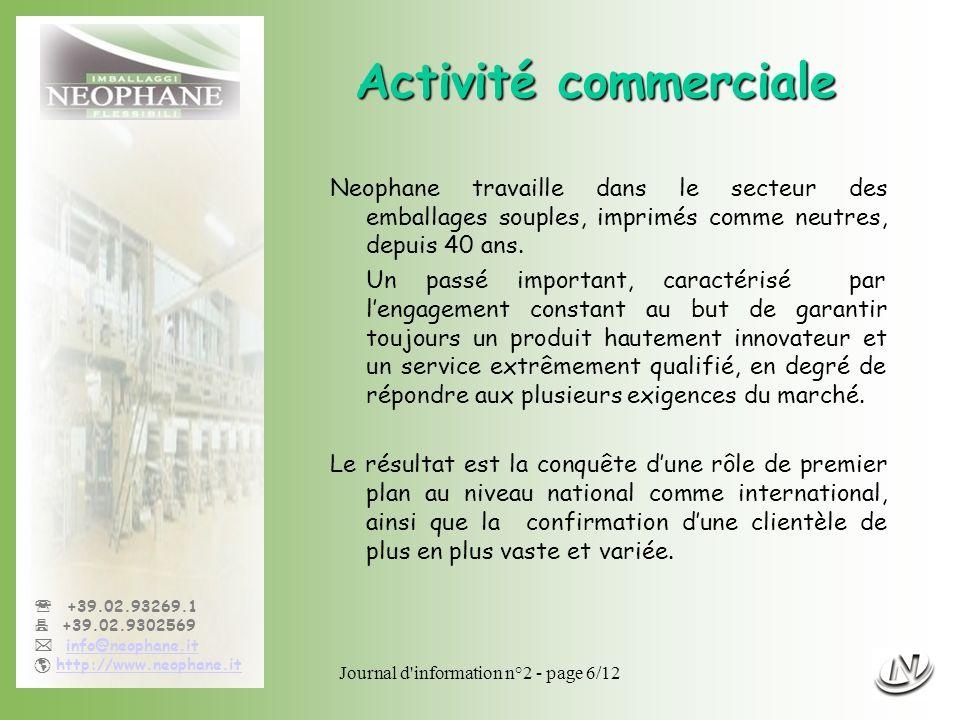 Journal d'information n°2 - page 6/12 +39.02.93269.1 +39.02.9302569 info@neophane.it http://www.neophane.it Activité commerciale Neophane travaille da