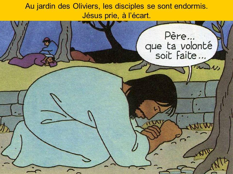 Au jardin des Oliviers, les disciples se sont endormis. Jésus prie, à lécart.