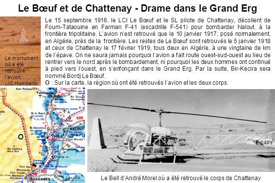 Le Bœuf et de Chattenay - Drame dans le Grand Erg Le 15 septembre 1916, le LCl Le Bœuf et le SL pilote de Chattenay, décollent de Foum-Tataouine en Fa