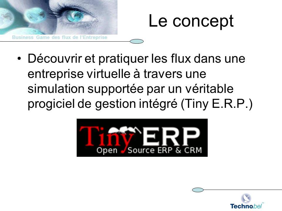 Business Game des flux de lEntreprise Le concept Découvrir et pratiquer les flux dans une entreprise virtuelle à travers une simulation supportée par